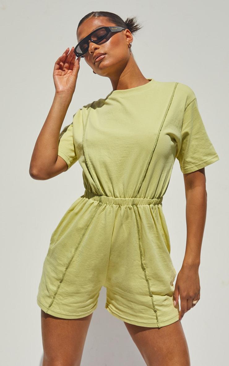 Olive Seam Detail T Shirt Playsuit 1