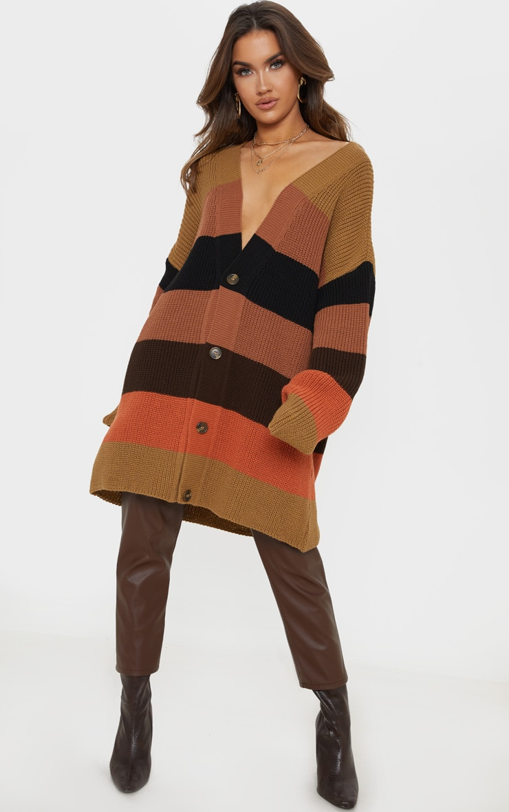 Rust Striped Knitted Cardigan 4