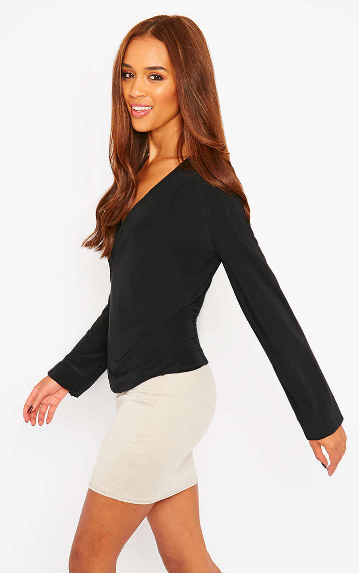 Kimberley Black Slinky Wrap Top 4