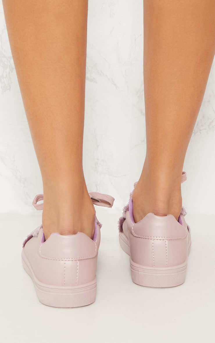 Lilac Frayed Edge Lace Up Trainer 3