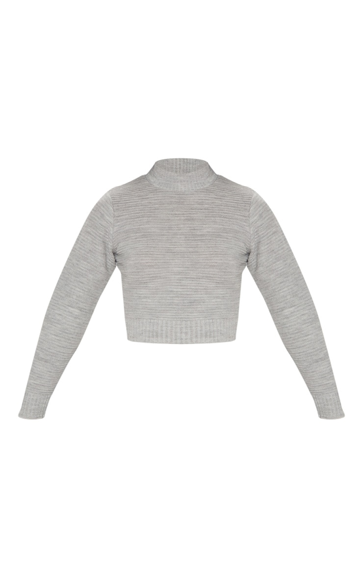 Grey Ribbed Cropped Knitted Jumper  3