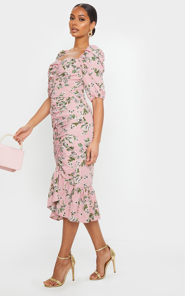 Dusty Pink Floral Ruched Front Frill Hem Midi Dress 3