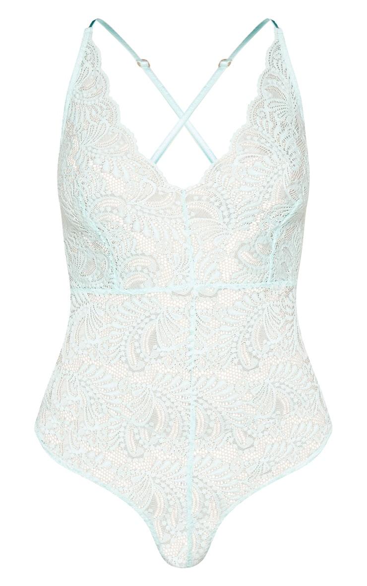 Mint Sheer Lace Cross Back Bodysuit 3