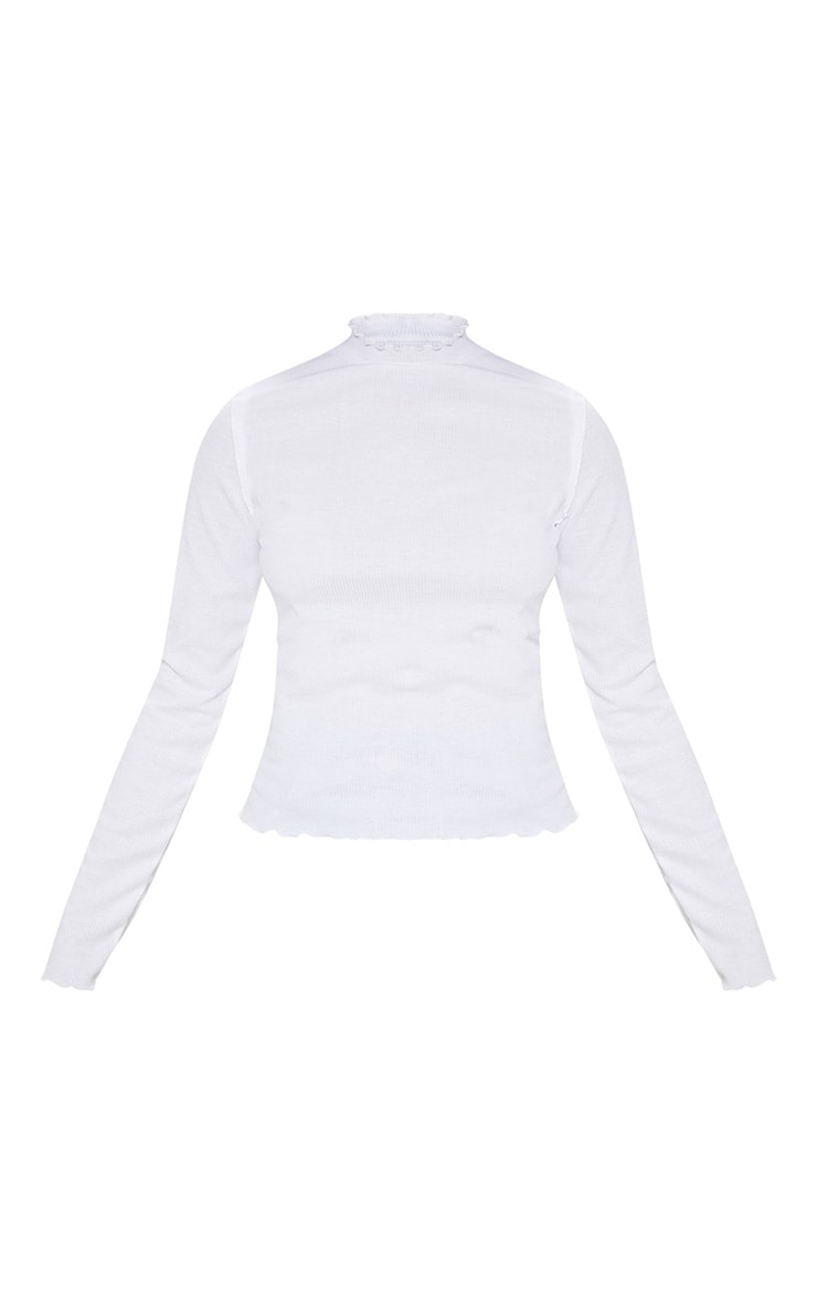 White Frill Rib High Neck Long Sleeve Top 3
