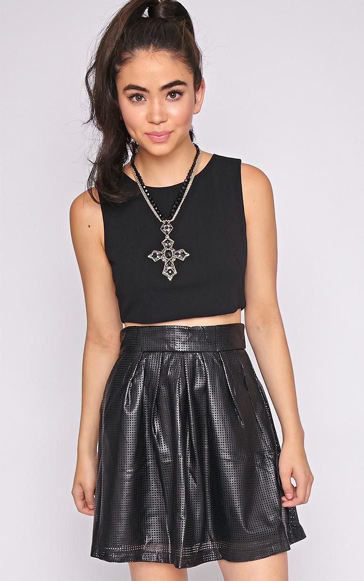 Farah Leather Perforated Skater Skirt-M 1