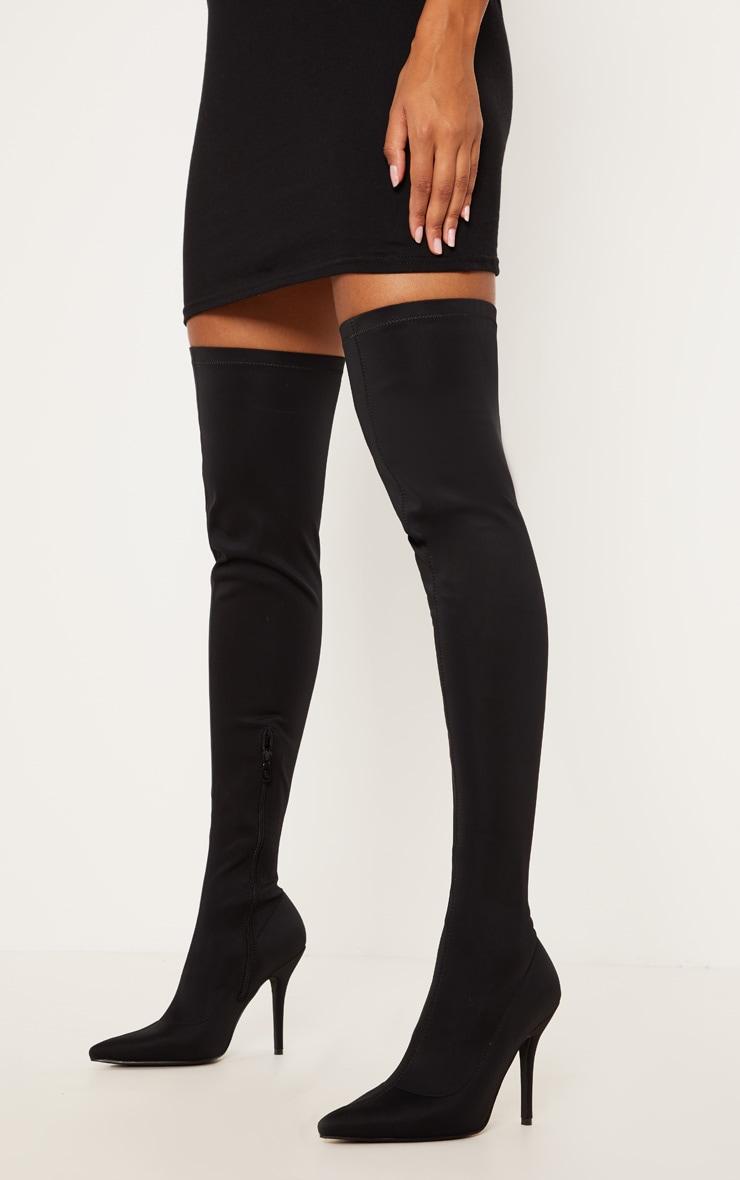 Black Over The Knee Neoprene Sock Boot 1