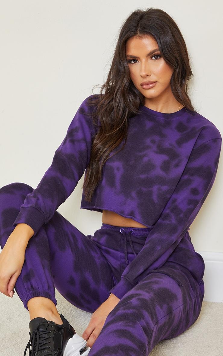 Tall Dark Purple Tie Dye Cropped Sweater 1