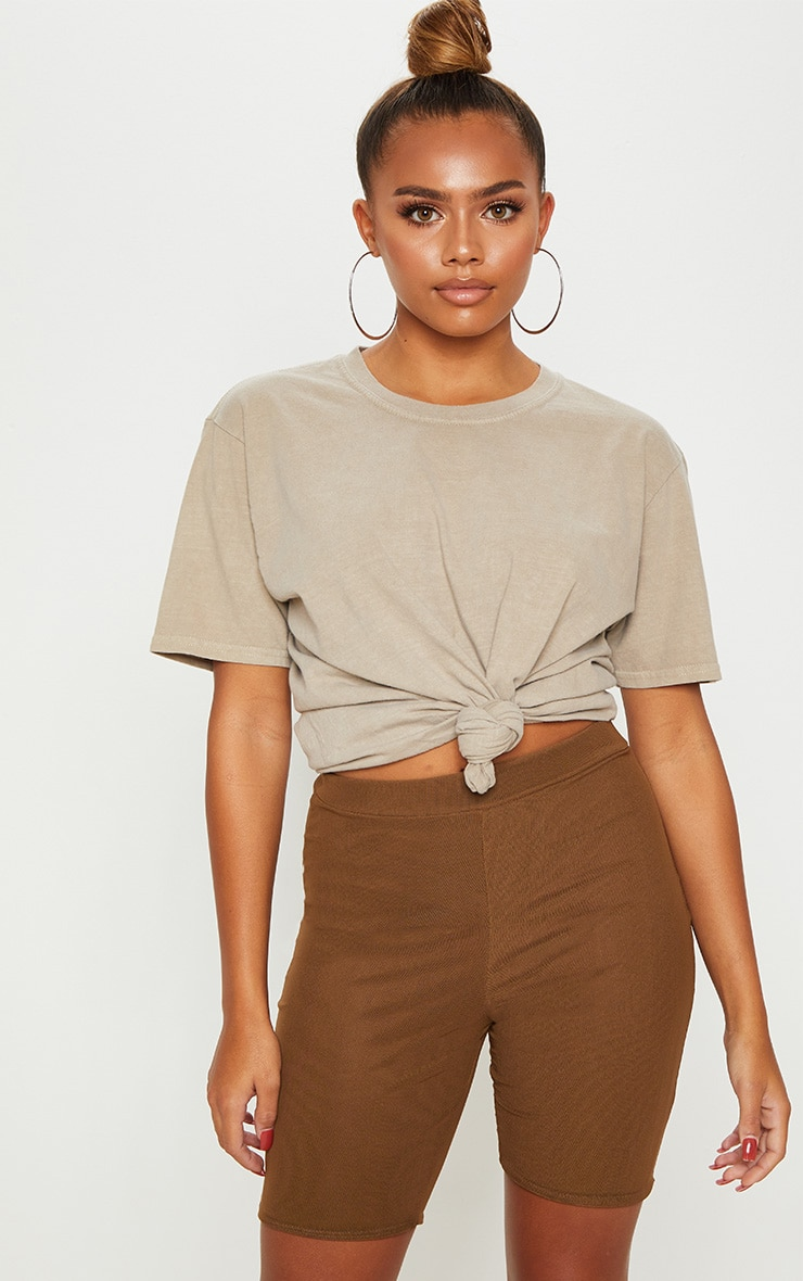 Brown Mesh Overlay Cycle Short