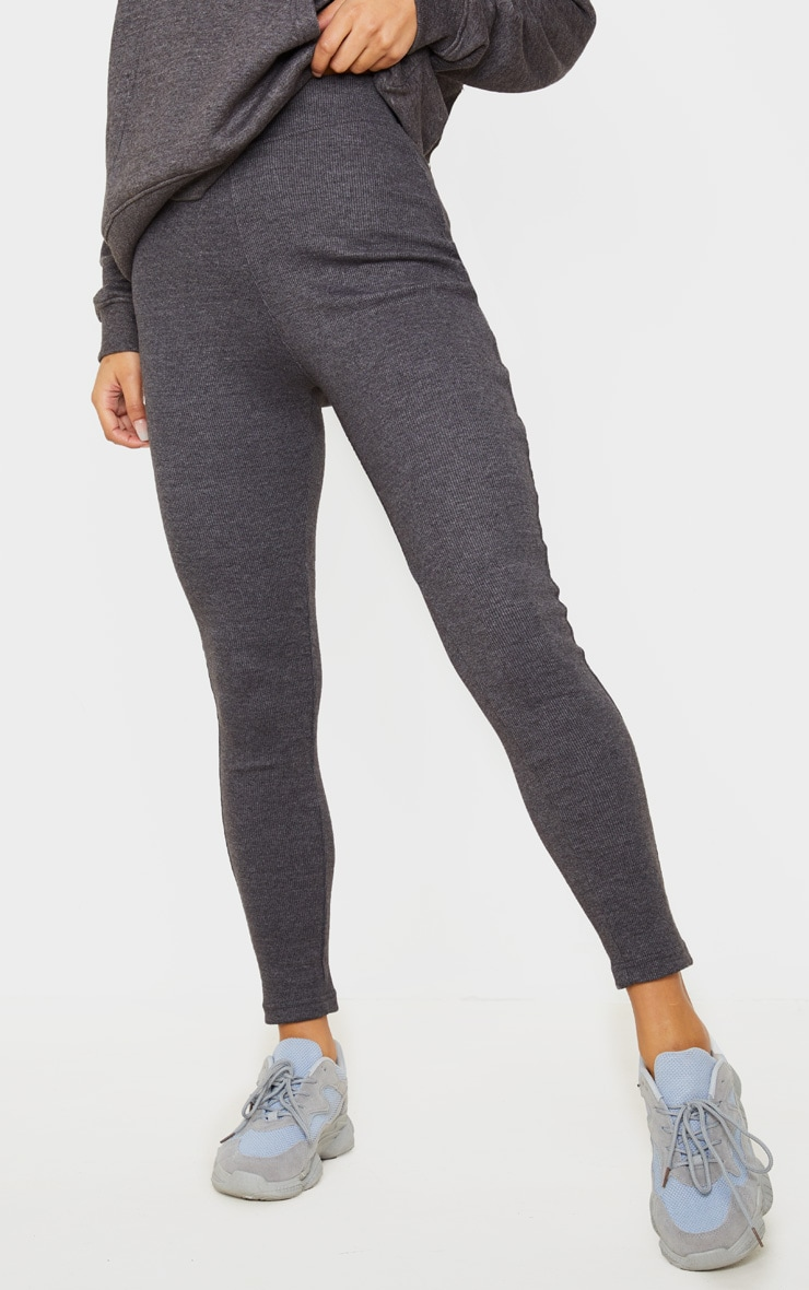 Charcoal Structured Ribbed Leggings 2