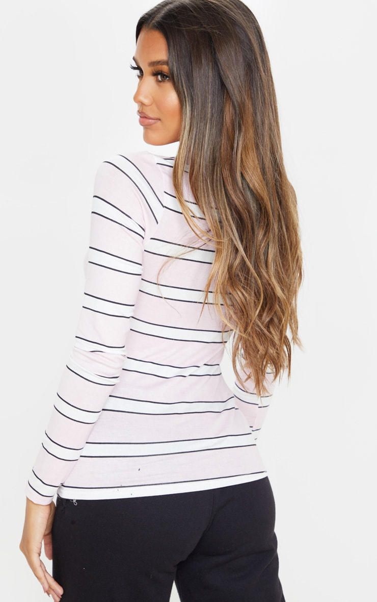 Basic Pink Stripe Long Sleeve Fitted T Shirt  2