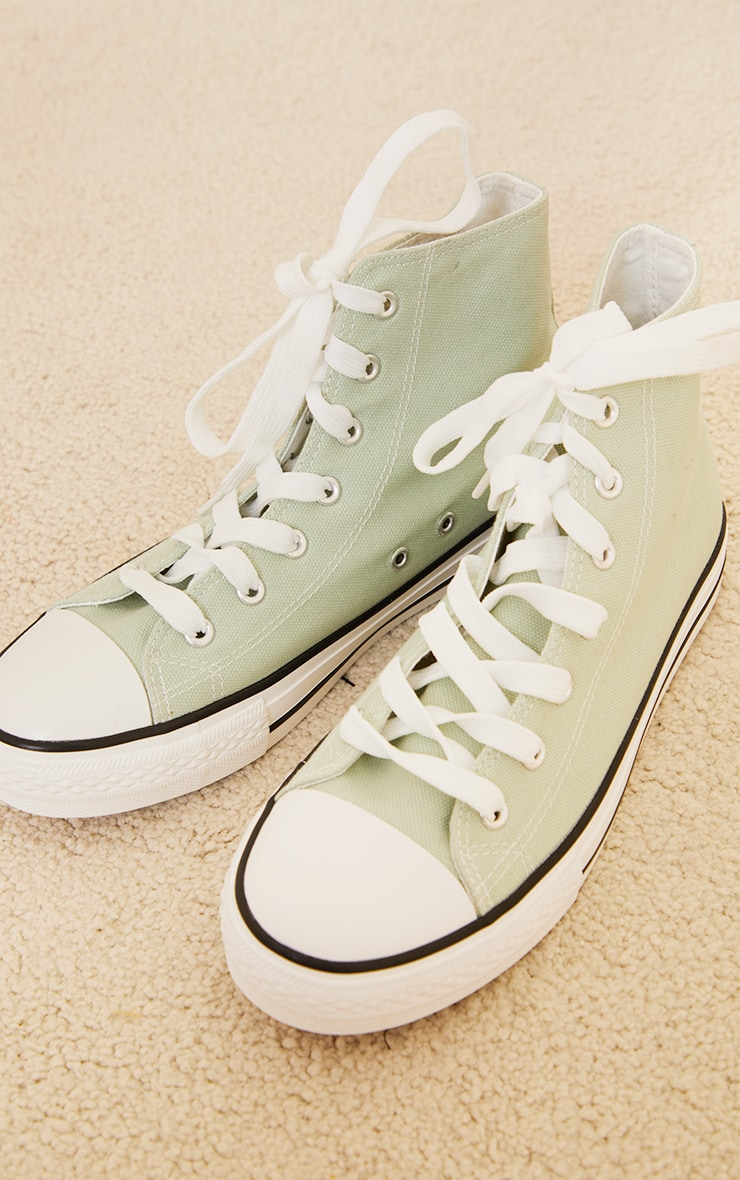 Sage Green Woven Lace Up Ankle Sneakers 4