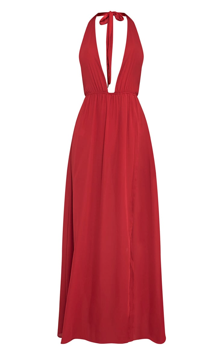 Alina Burgundy Plunge Maxi Dress 3