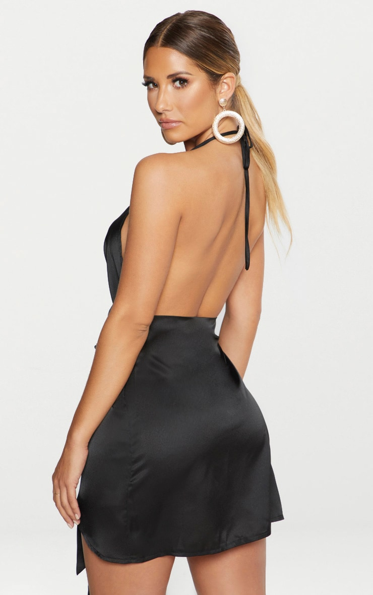 Black Satin Halterneck Wrap Bodycon Dress 3