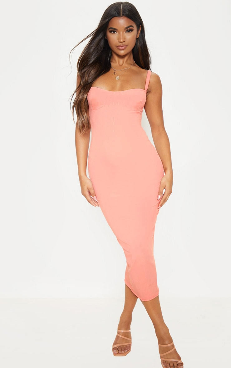 a26c2a6975aa Peach Cup Detail Rib Midi Dress | PrettyLittleThing