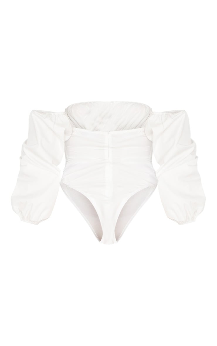 White Hook & Eye Bardot Long Sleeve Bodysuit 4
