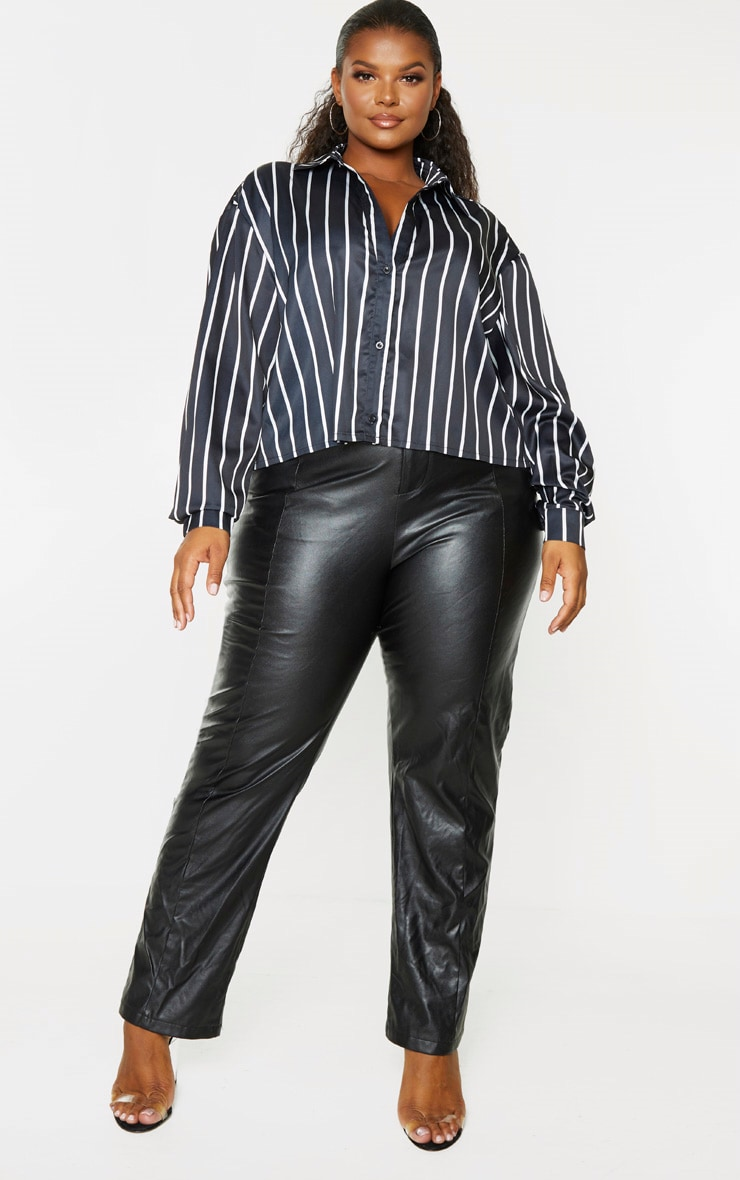 Plus Black Satin Stripe Crop Shirt 1