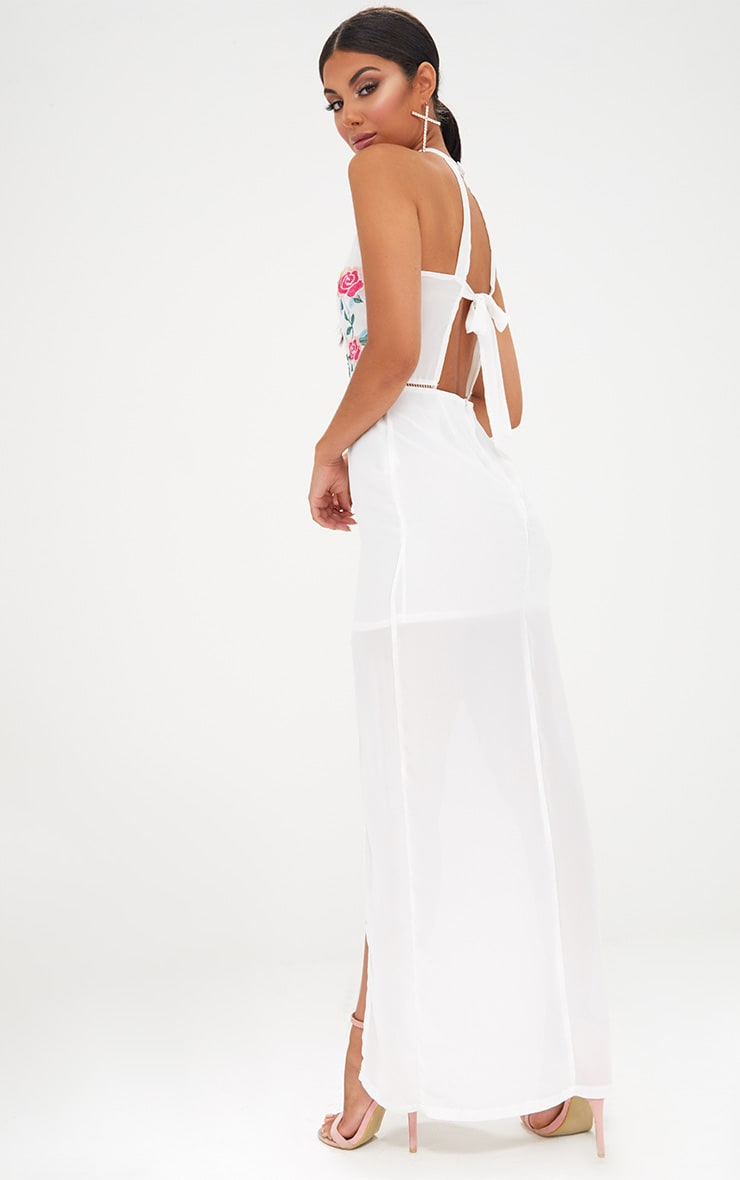 White Floral Embroidered Maxi Dress 2
