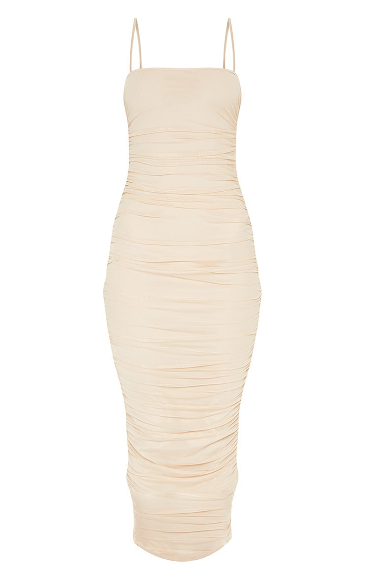 Nude Strappy Mesh Ruched Midaxi Dress 3