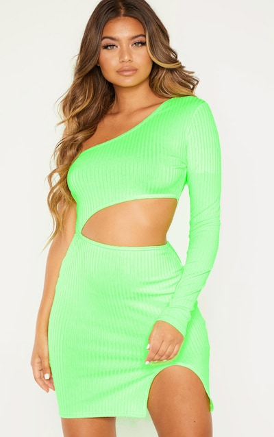 Neon Lime Ribbed Waist Cut Out One Shoulder Bodycon Dress