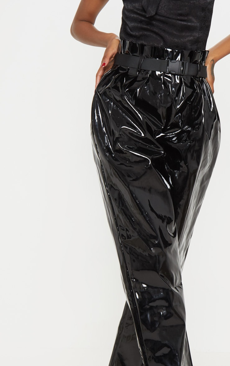 Black Vinyl Belted Peg Leg Pants  5