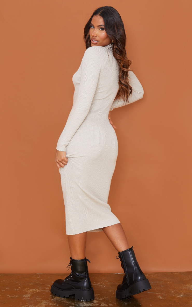 Stone Turtle Neck Knitted Bodycon Maxi Dress 2