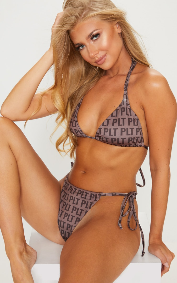 PLT Mocha Repeat Print Tie Side Bikini Bottom