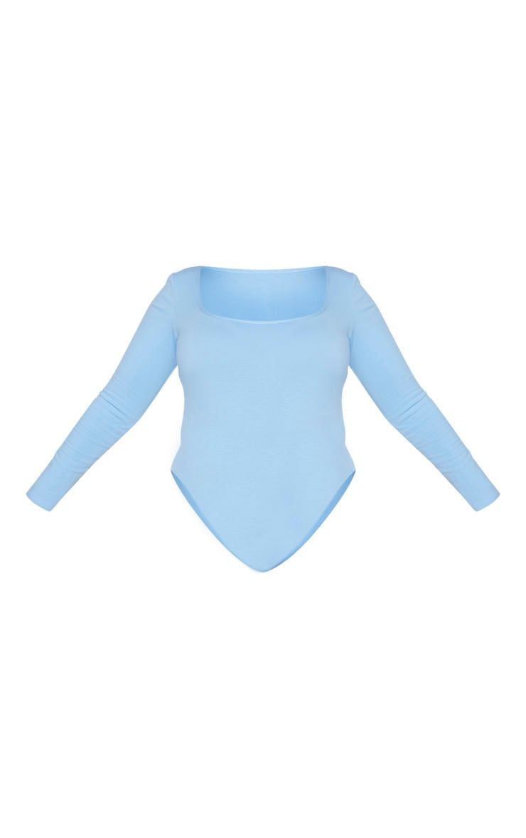 Plus Dusty Blue Cotton Square Neck Bodysuit 5