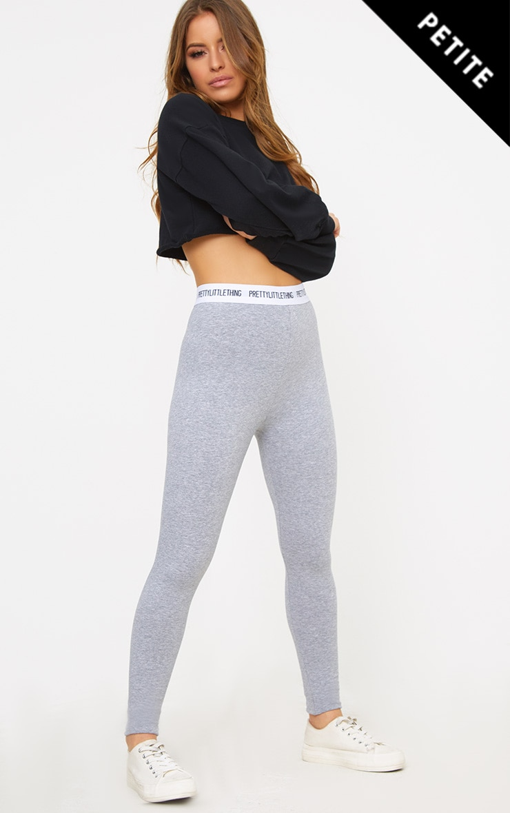 PRETTYLITTLETHING Petite Grey Slogan Waistband Leggings 1