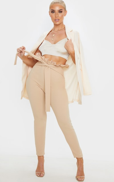 Taupe Paperbag Skinny Trouser