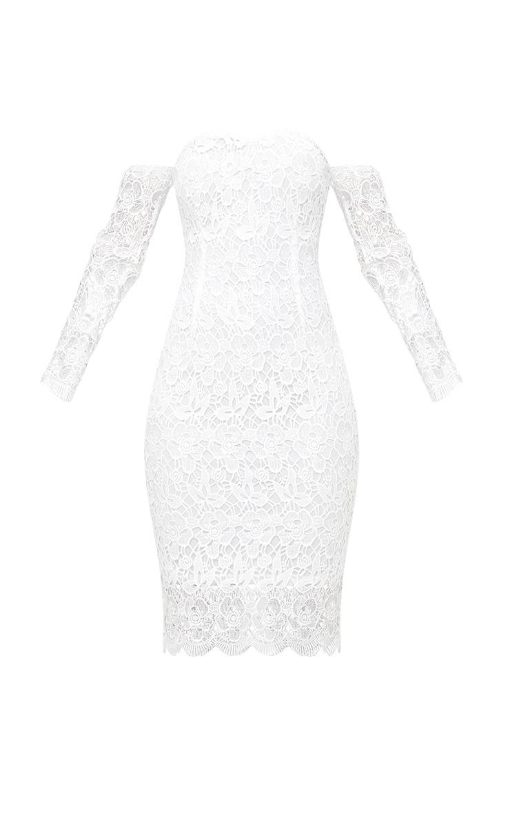 White Lace Bardot Long Sleeved Midi Dress 3