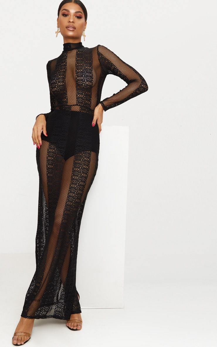 Black Lace Sheer Maxi Dress 1