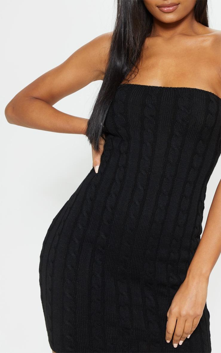 Black Cable Bandeau Knit Dress 5