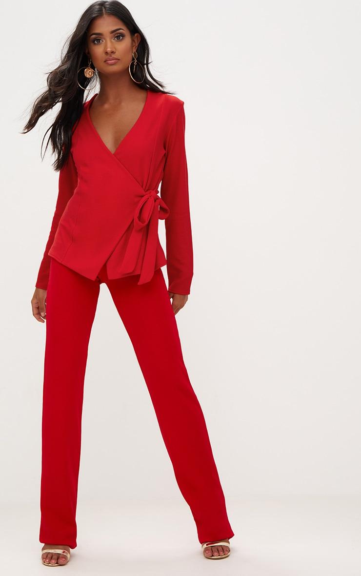 Red Tie Side Belted Blazer 4