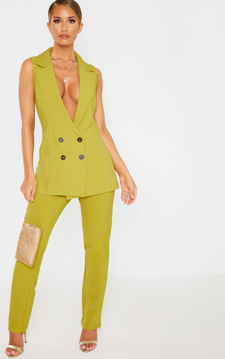 Olive High Waisted Tailored Cigarette Trouser