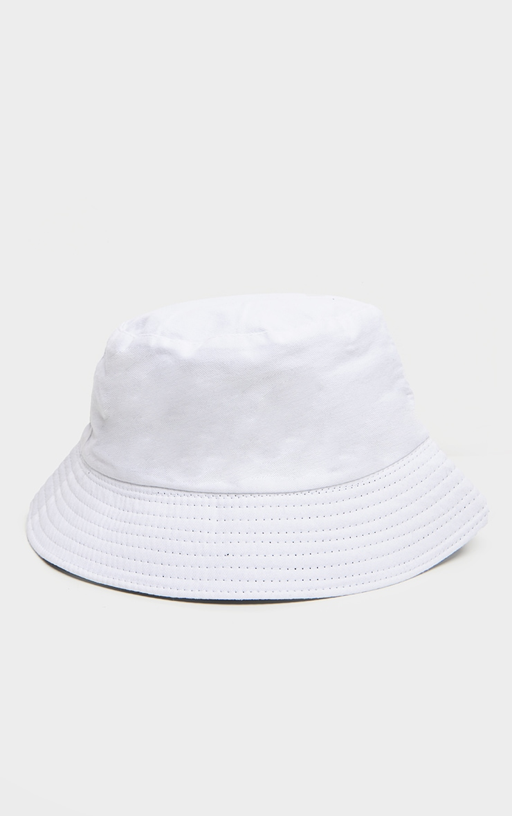 White Cotton Reversible Bucket Hat 4