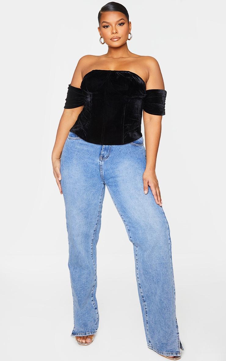 Plus Black Velvet Lace Up Back Corset 1