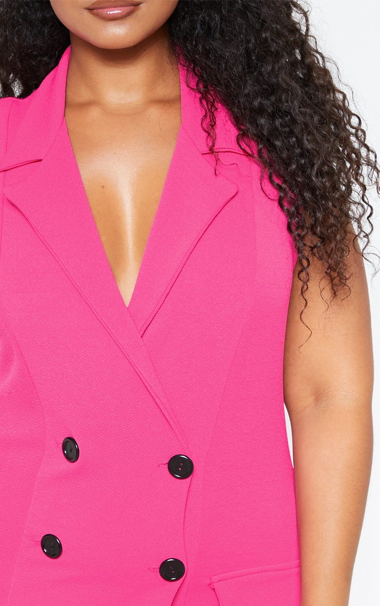 Plus Bright Pink Sleeveless Button Detail Blazer Dress 5