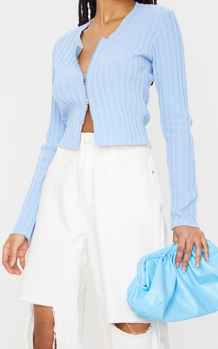 Baby Blue Double Ended Zip Wide Rib Knitted Top 4