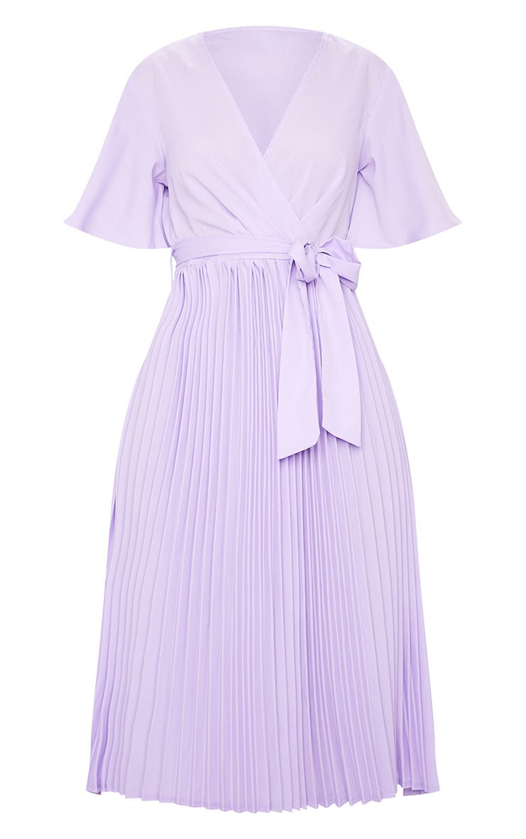 Robe lilas mi-longue plissée 5