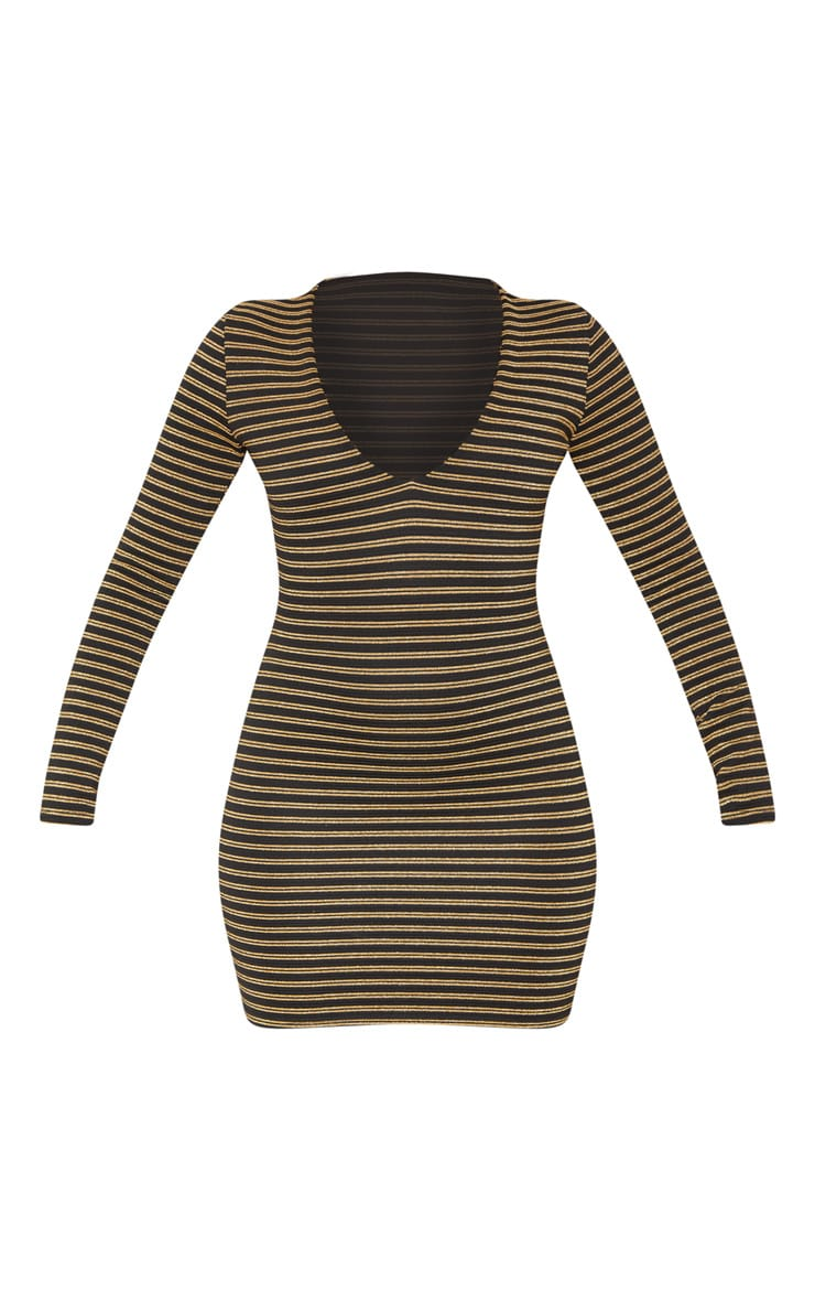 Gold Striped Plunge Bodycon Dress  4