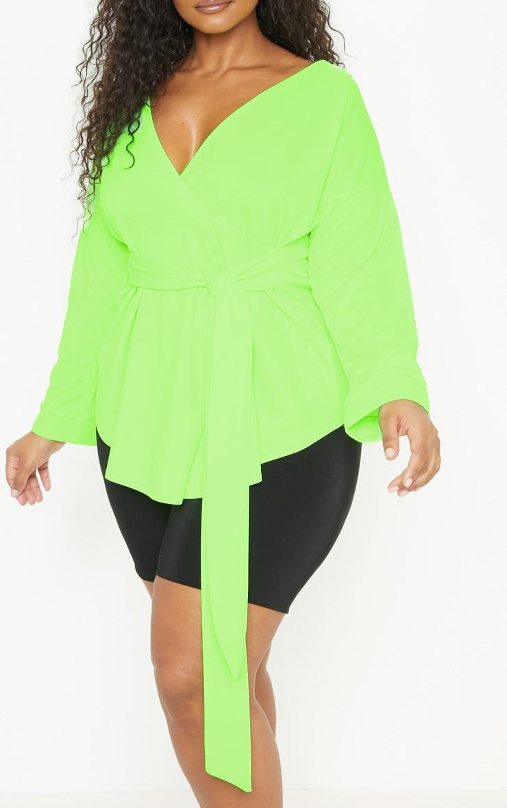 Plus Neon Lime Tie Waist Blouse 5