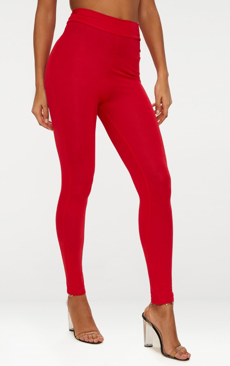 Basic Red High Waisted Jersey Leggings 2