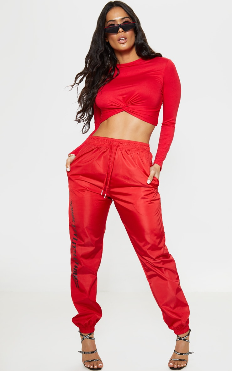 Red Jersey Knot Hem Long Sleeve Crop Top 4