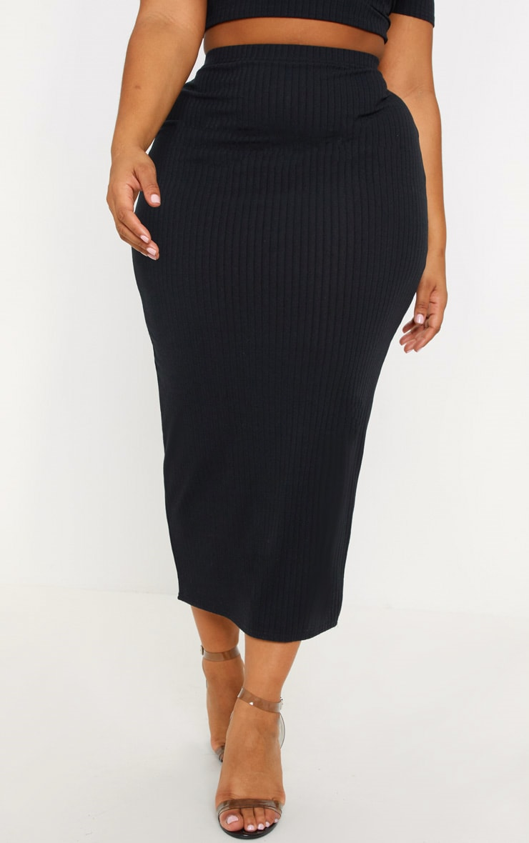 Plus Black Rib High Waisted Midi Skirt 2