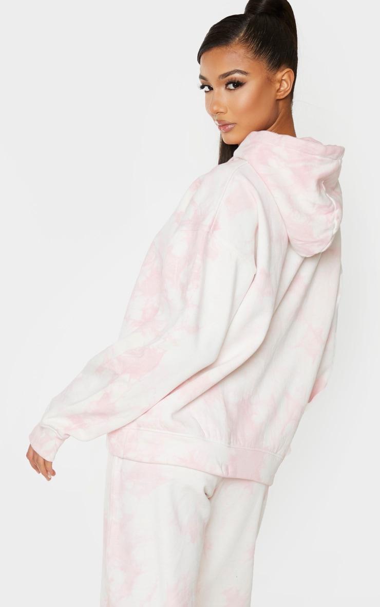 Light Pink Tie Dye Oversized Hoodie 2