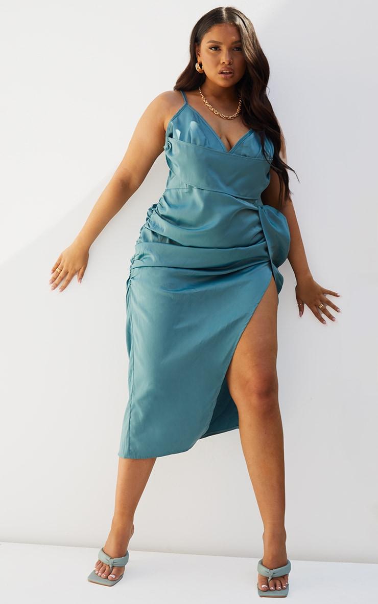 Plus Teal Satin Boned Layered Ruched Side Split Dress 1