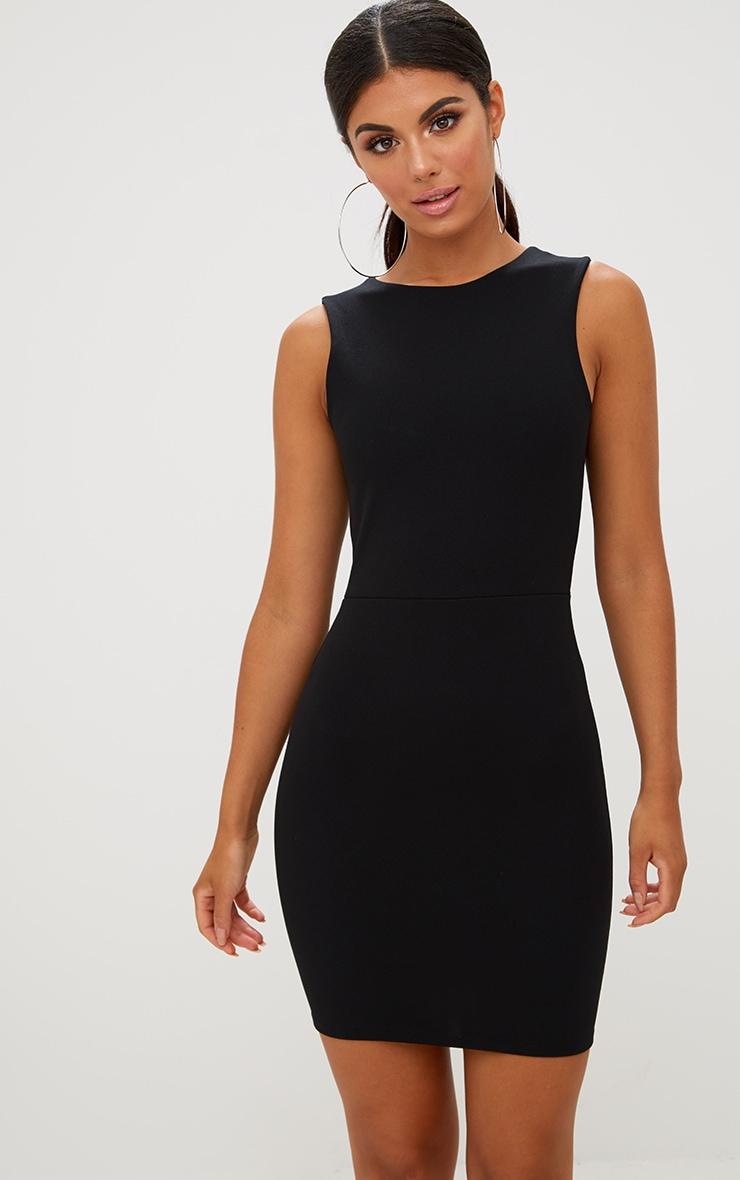 Black Bow Back Bodycon Dress 2