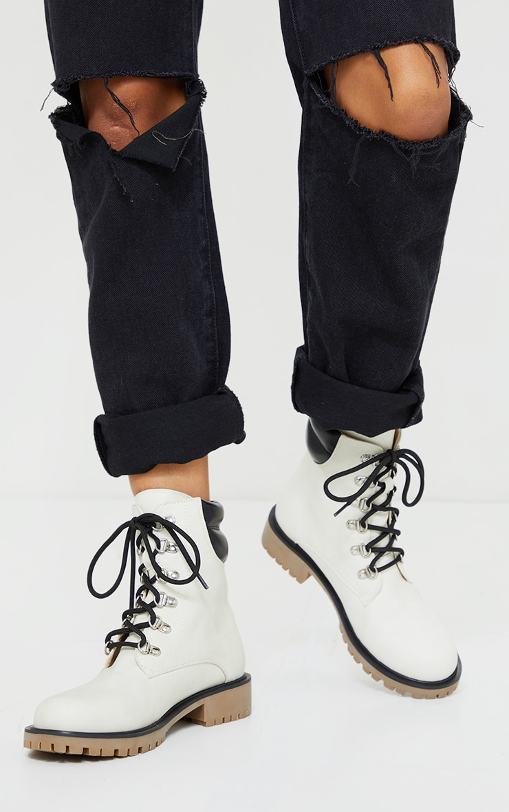 White Suede Contrast Pu Back Eyelet Lace Up Boots 2