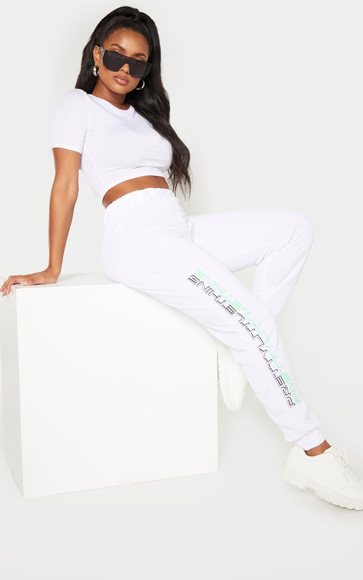 PRETTYLITTLETHING Shape White Printed Drawstring Joggers 1