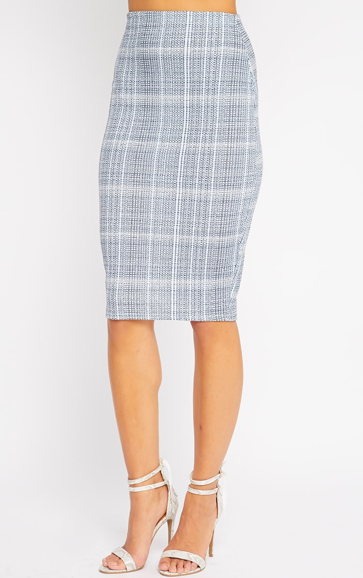 Cleo Blue Checked Midi Skirt 4